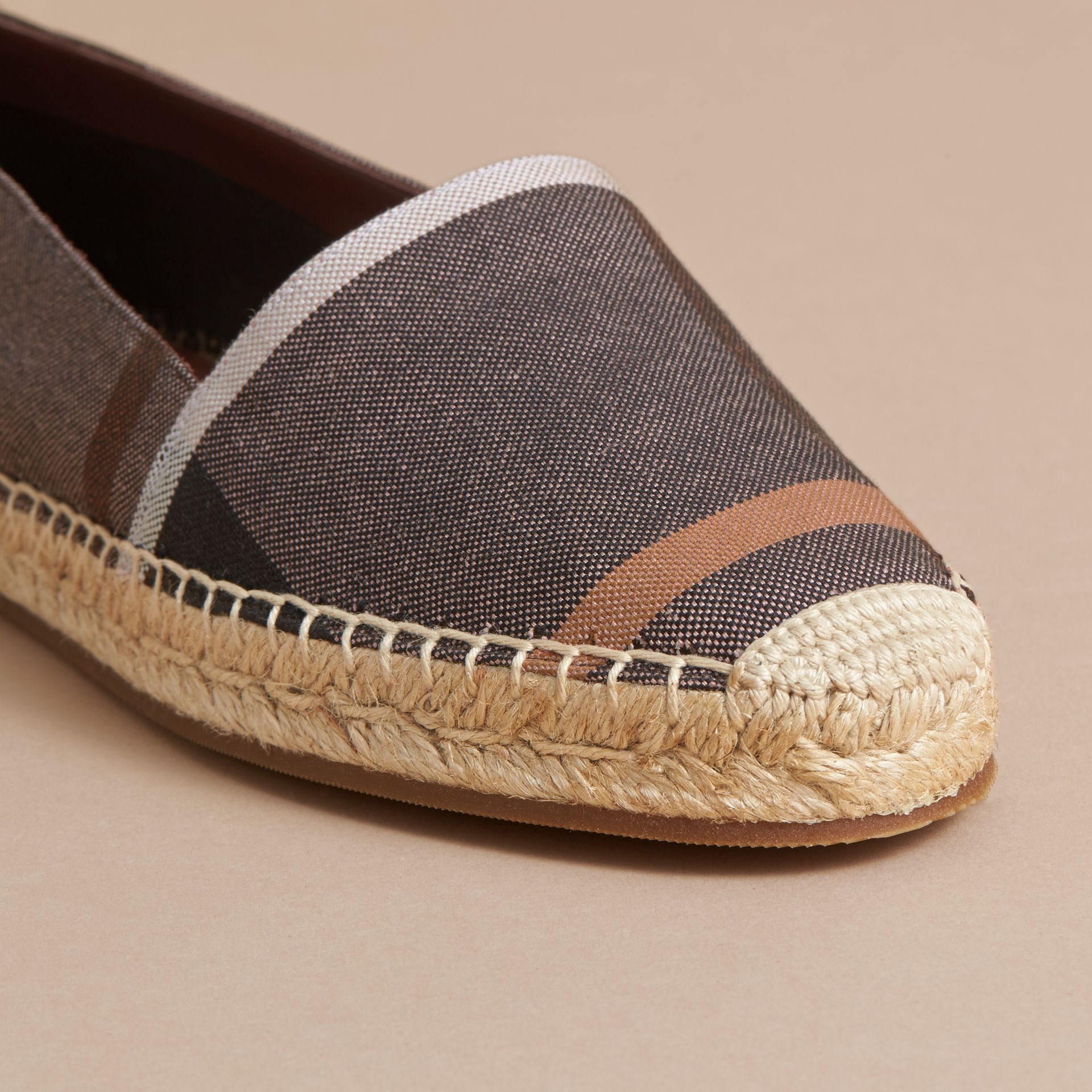Check Linen Cotton Espadrilles in Cerise Purple - Women | Burberry - gallery image 2