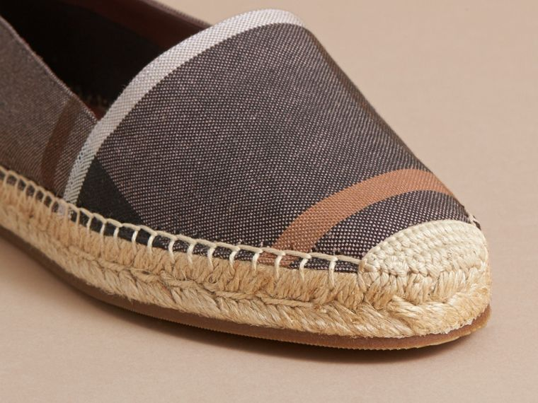 Check Linen Cotton Espadrilles in Cerise Purple - Women | Burberry - cell image 1