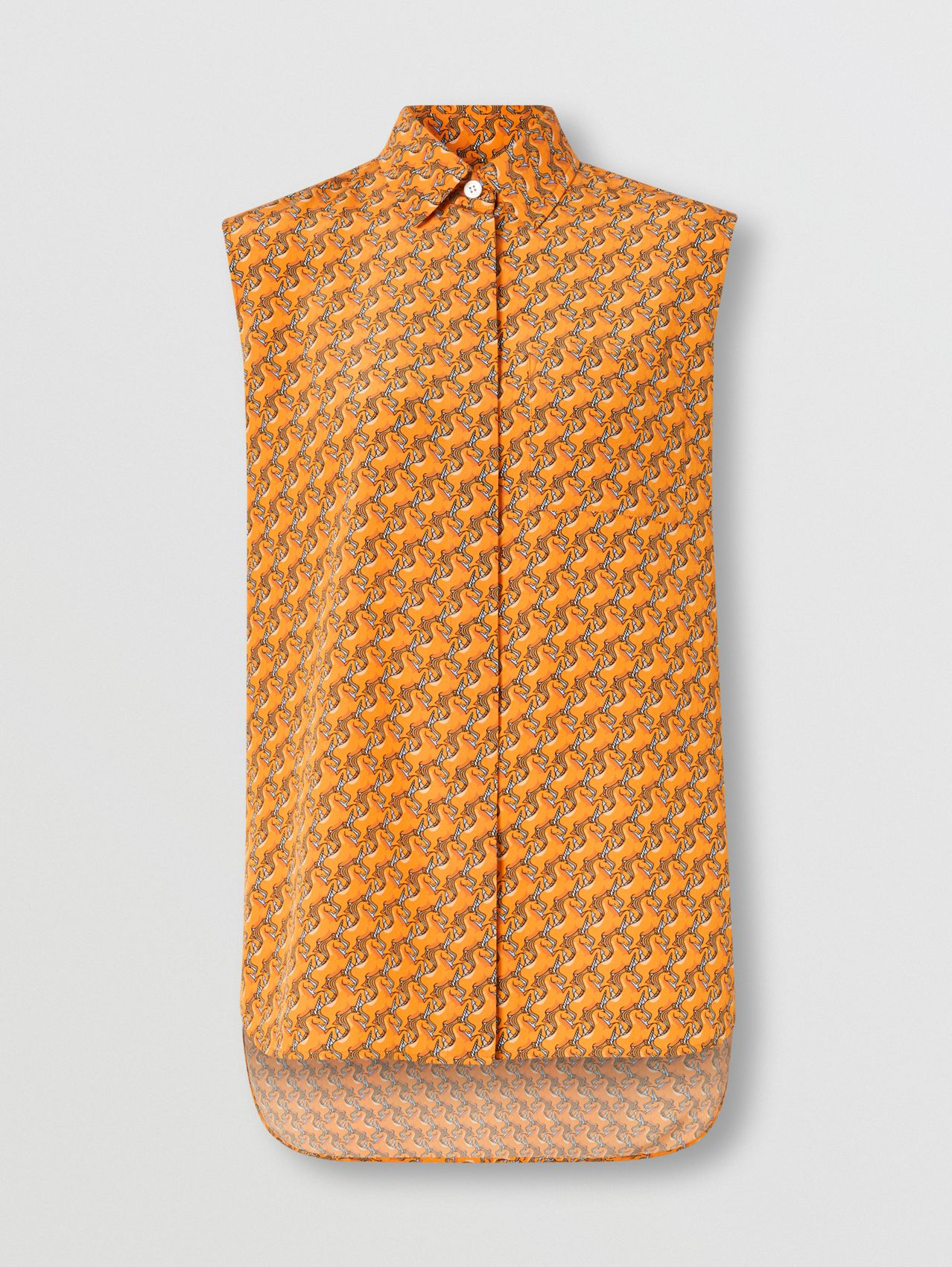 Sleeveless Unicorn Print Silk Crepe De Chine Shirt in Bright Melon