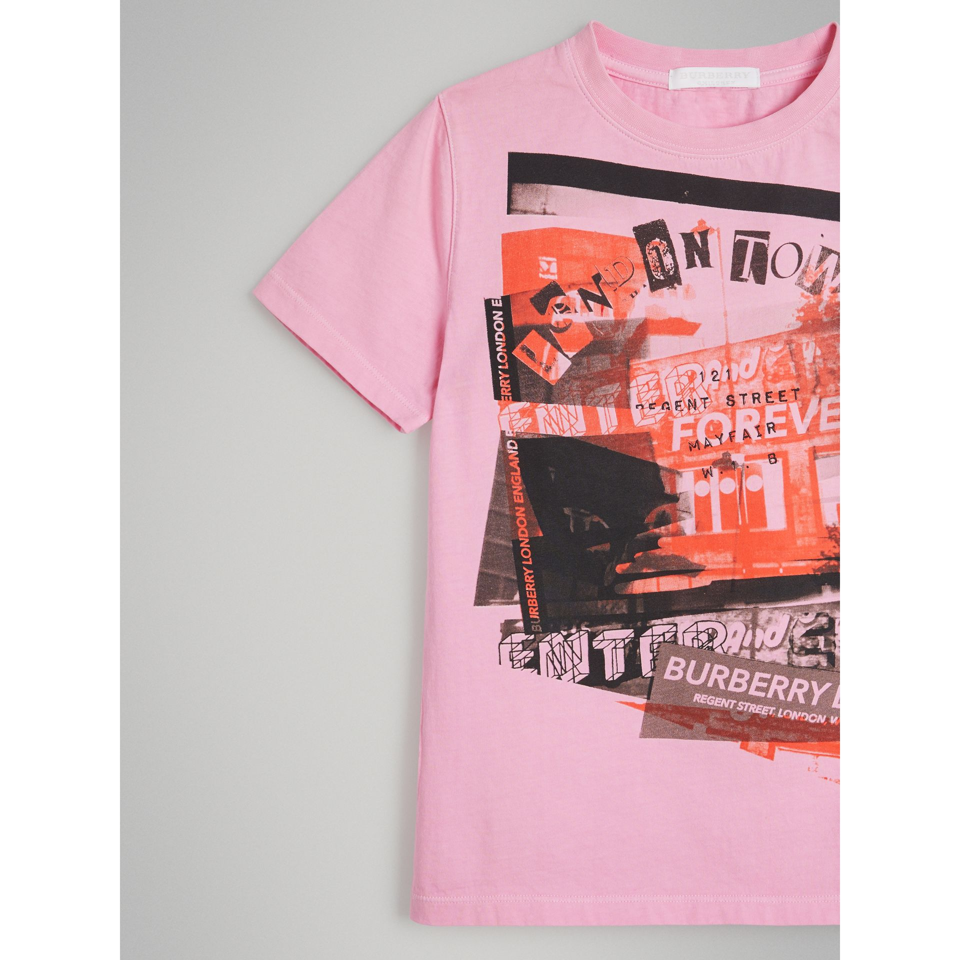 London Street Art Print Cotton T-shirt in Bright Pink - Girl | Burberry - gallery image 4