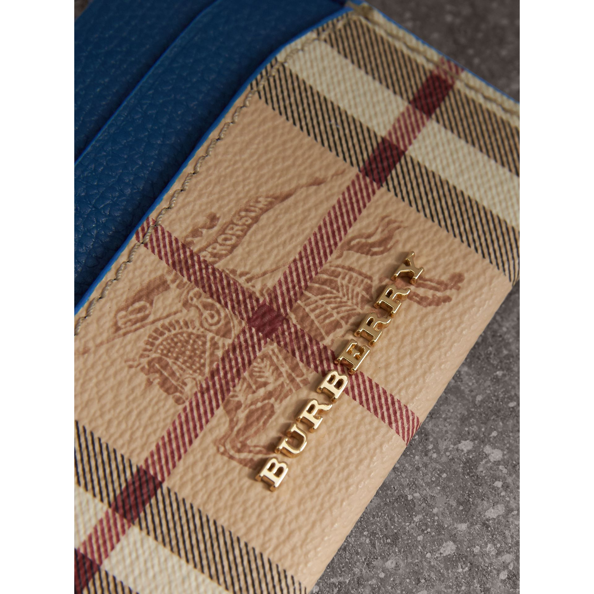 Haymarket Check and Leather Card Case in Mineral Blue - Women | Burberry - gallery image 2