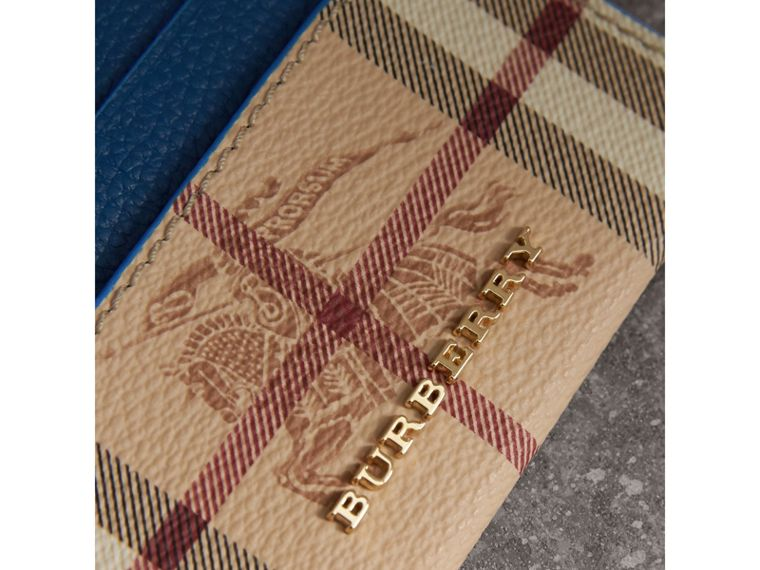 Haymarket Check and Leather Card Case in Mineral Blue - Women | Burberry Canada - cell image 1