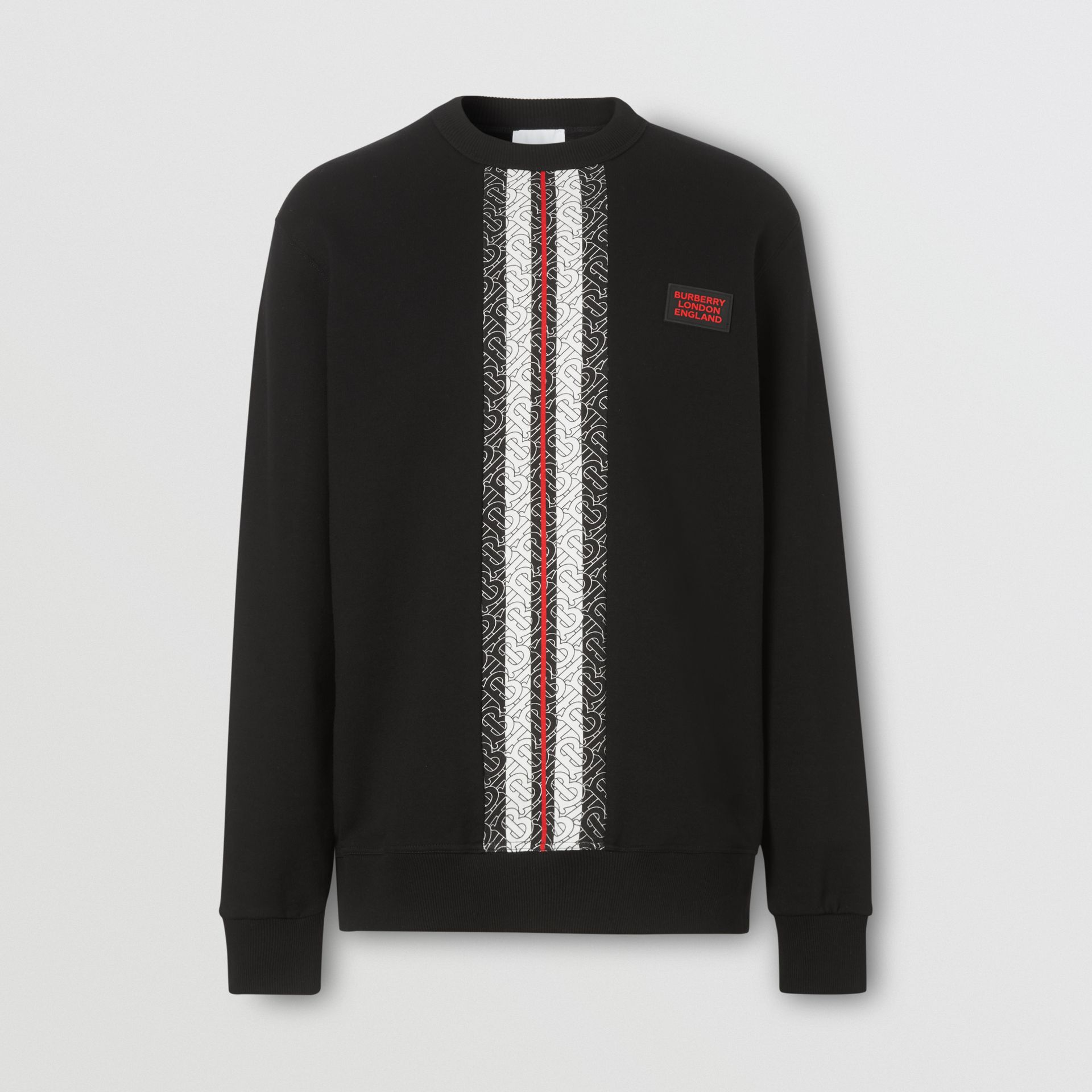 Monogram Stripe Print Cotton Sweatshirt in Black - Men | Burberry - gallery image 3