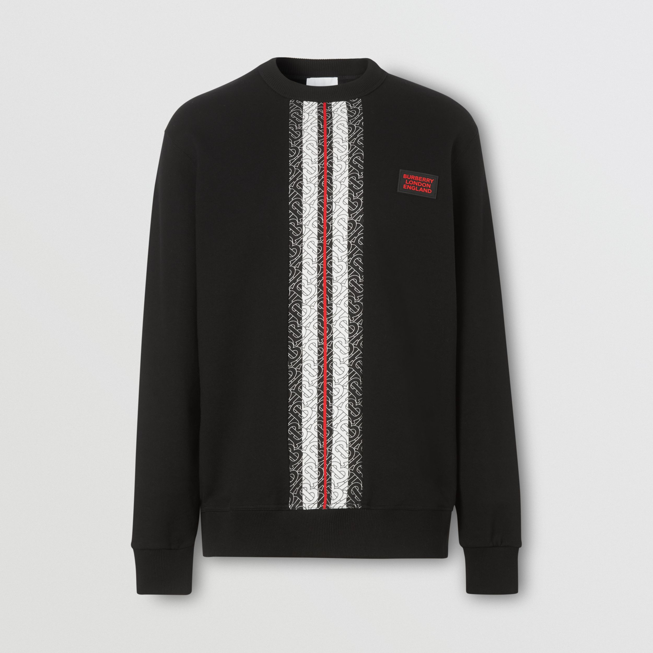 Monogram Stripe Print Cotton Sweatshirt in Black - Men | Burberry - 4