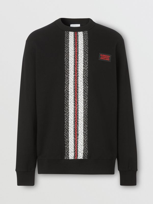 Monogram Stripe Print Cotton Sweatshirt in Black - Men | Burberry - cell image 3