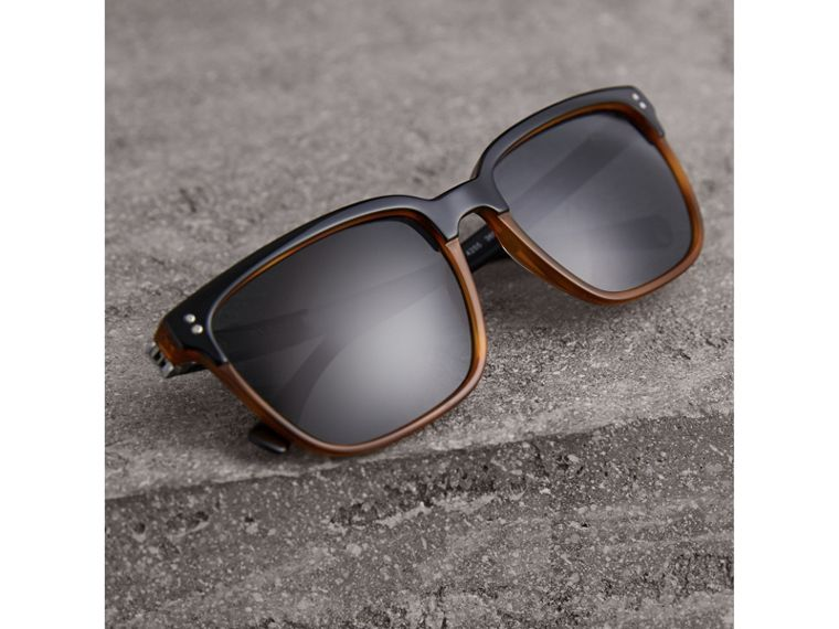 Square Frame Sunglasses in Light Brown - Men | Burberry United Kingdom - cell image 2