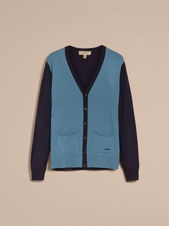 V-neck Two-tone Merino Wool Cardigan - cell image 3