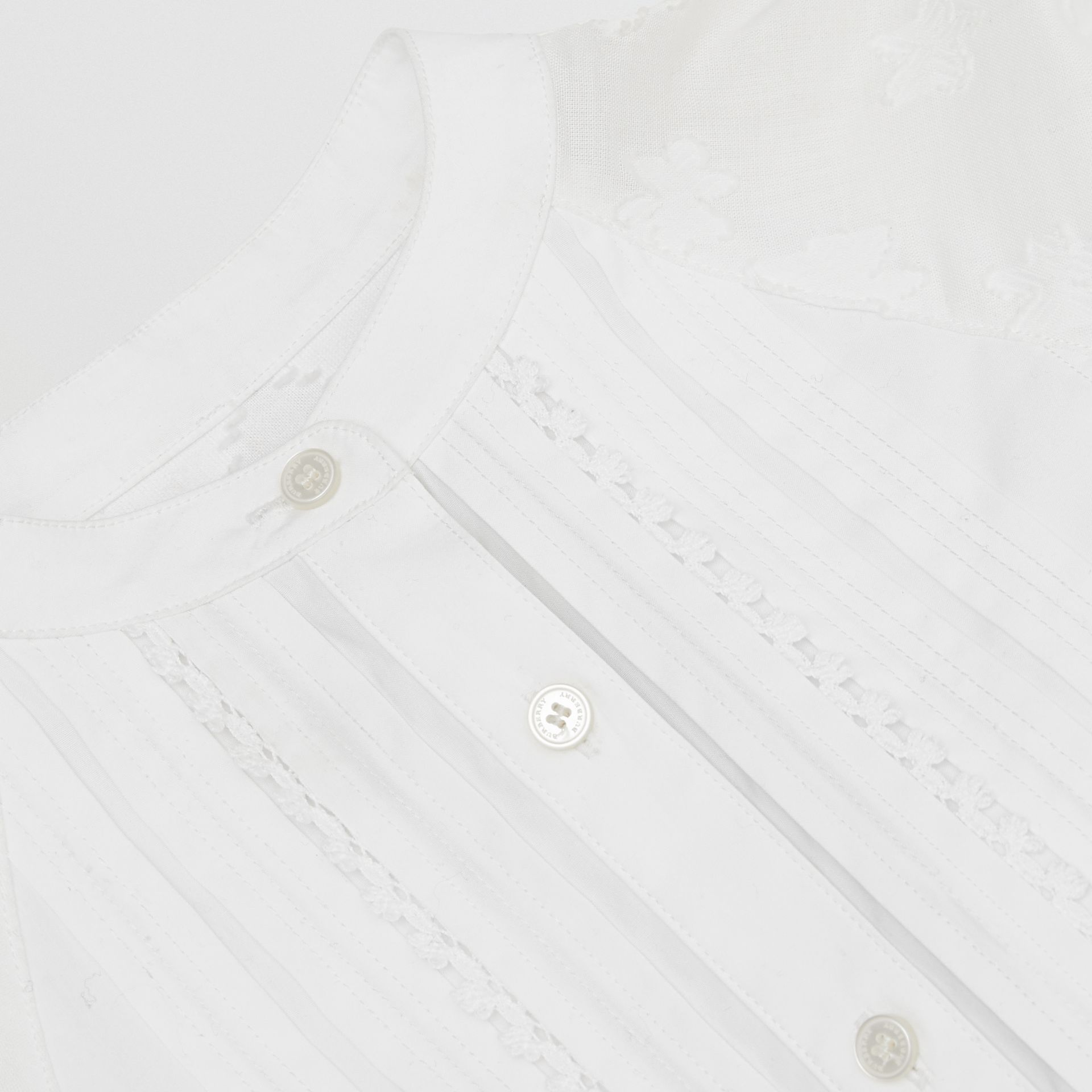 Pleated Bib Fil Coupé Cotton Shirt Dress in White - Girl | Burberry - gallery image 1