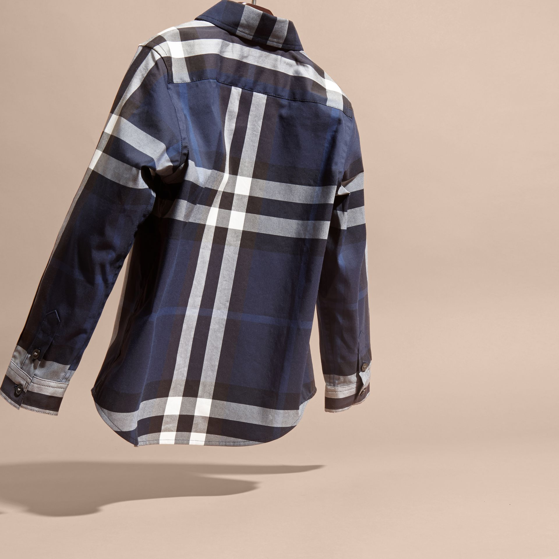 Indigo blue Check Cotton Button-Down Shirt Indigo Blue - gallery image 4