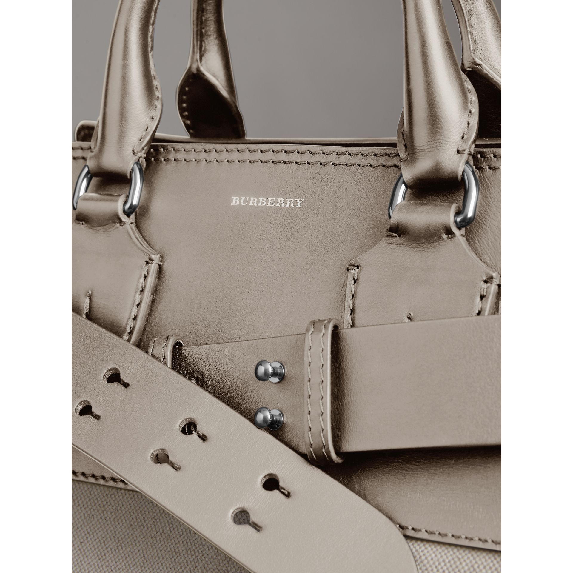 The Medium Canvas and Leather Belt Bag in Grey/stone - Women | Burberry United States - gallery image 1