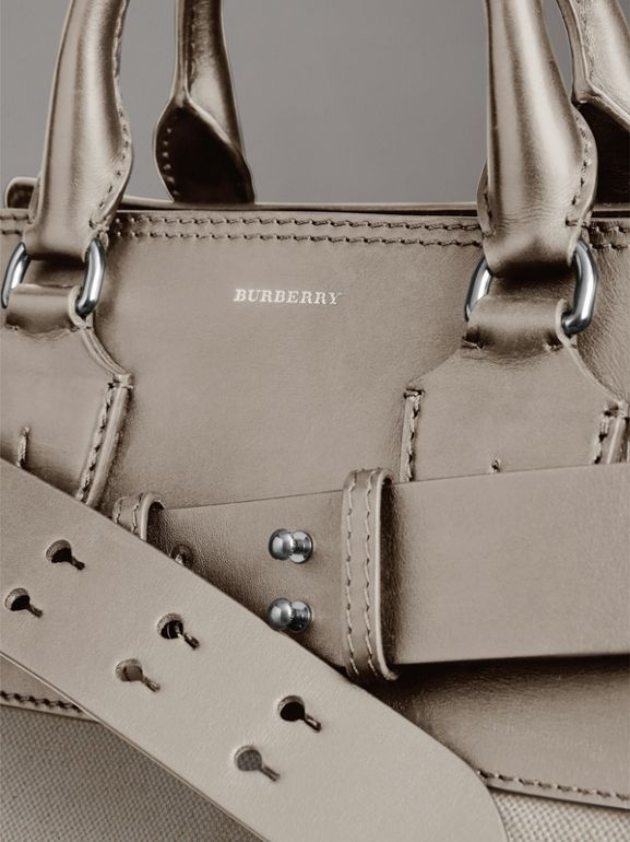The Medium Canvas and Leather Belt Bag in Grey/stone - Women | Burberry United States - cell image 1