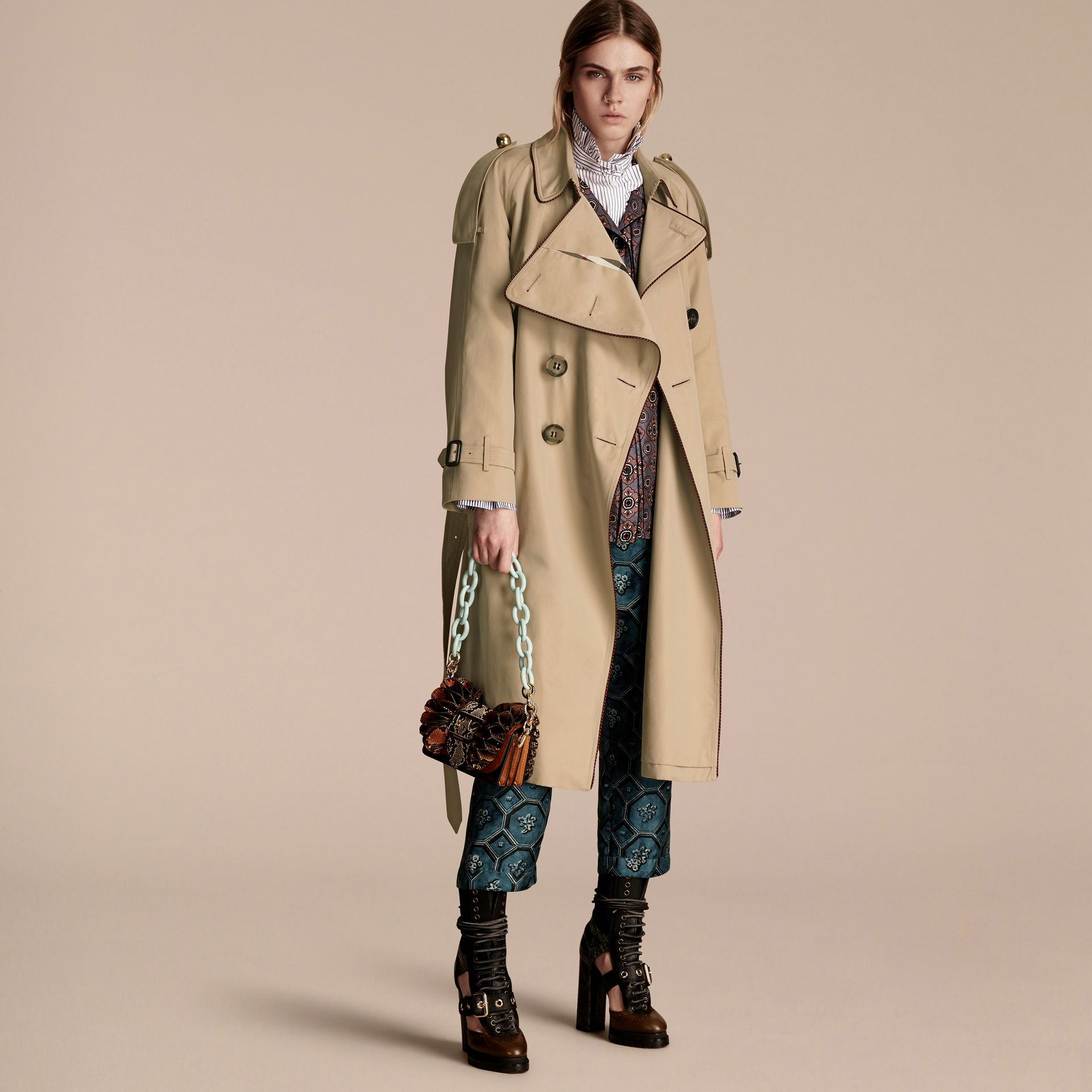 Honey Deconstructed Trench Coat with Regimental Piping - gallery image 6