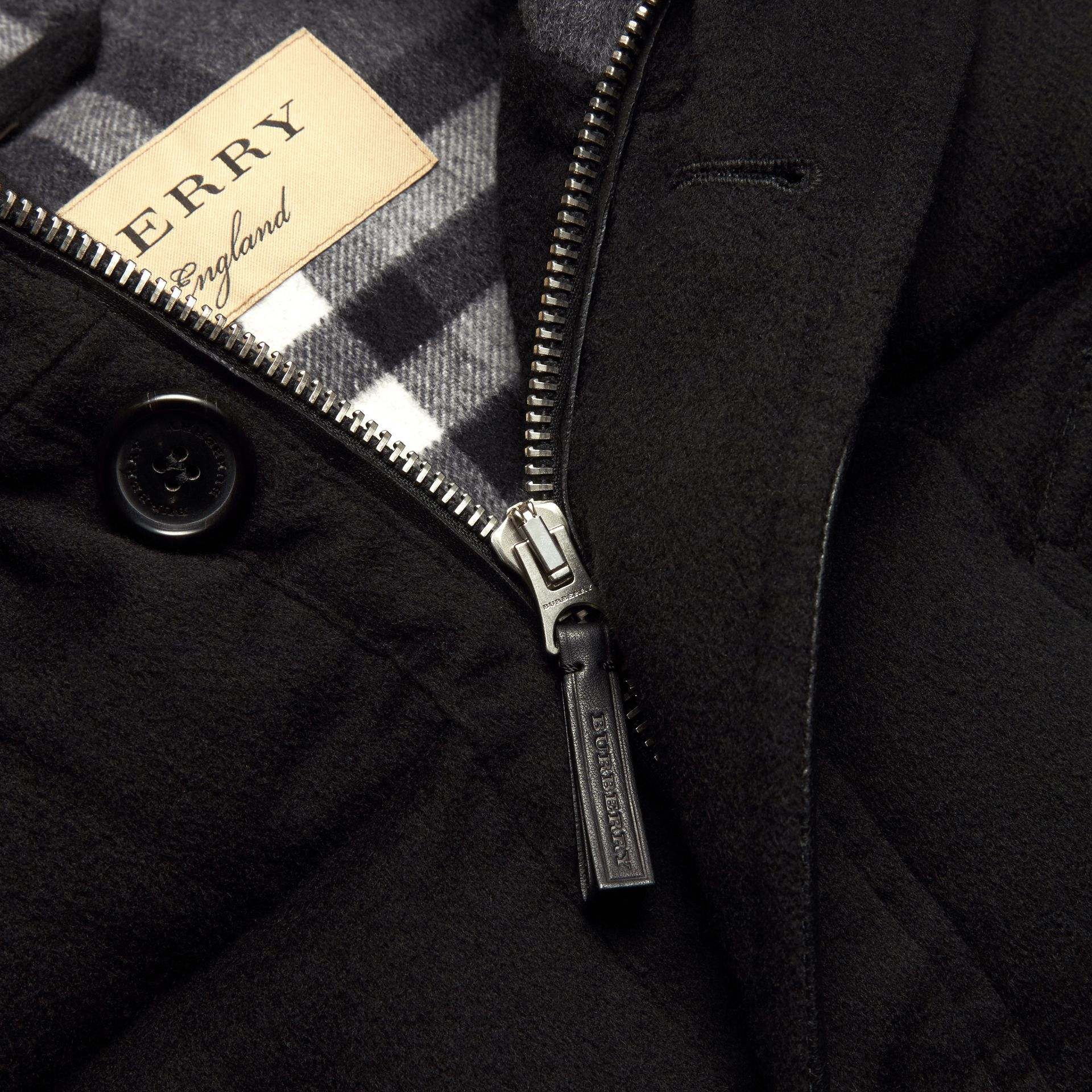 Black Down-filled Cashmere Parka with Detachable Fur Trim Black - gallery image 2