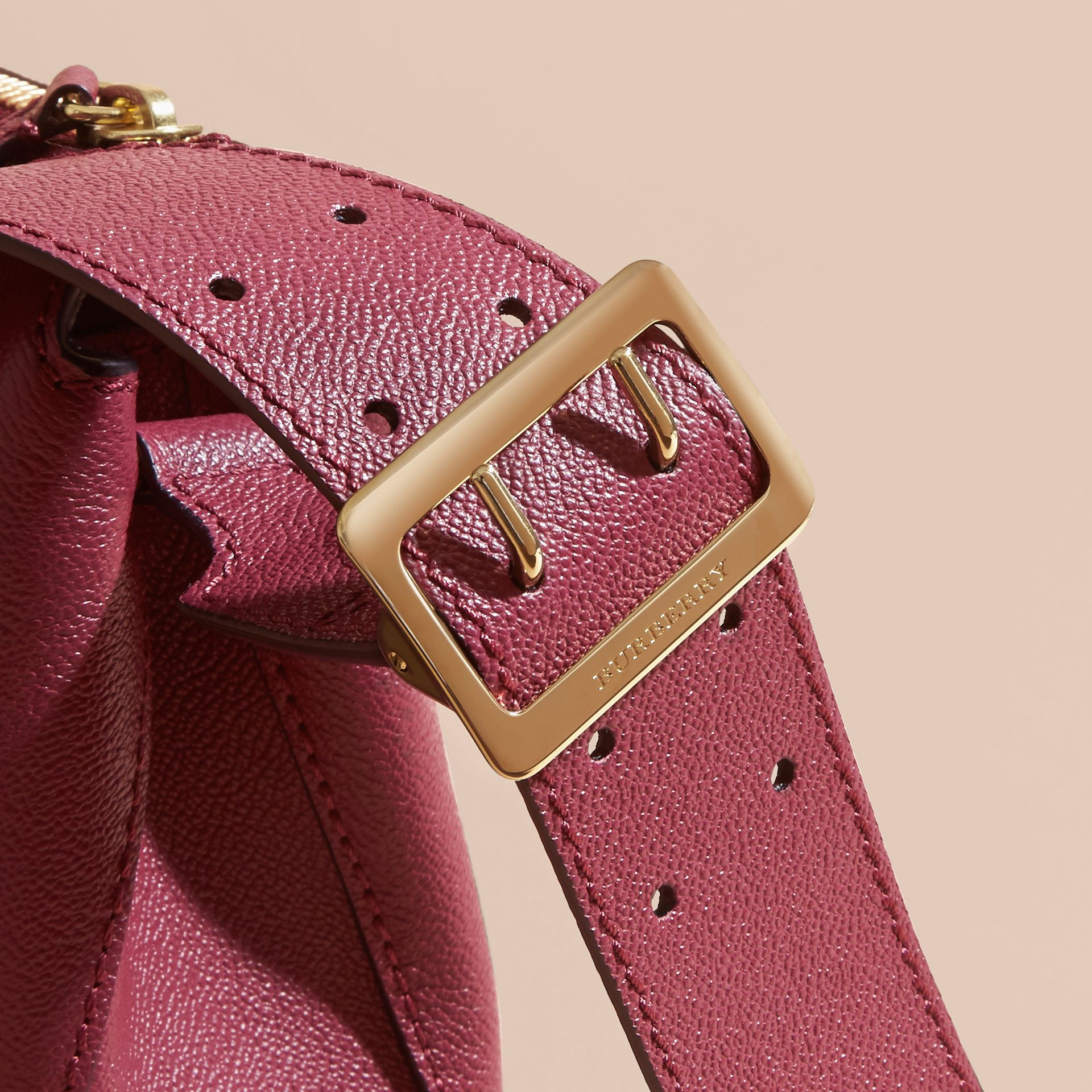Buckle Detail Leather Crossbody Bag in Dark Plum - gallery image 2