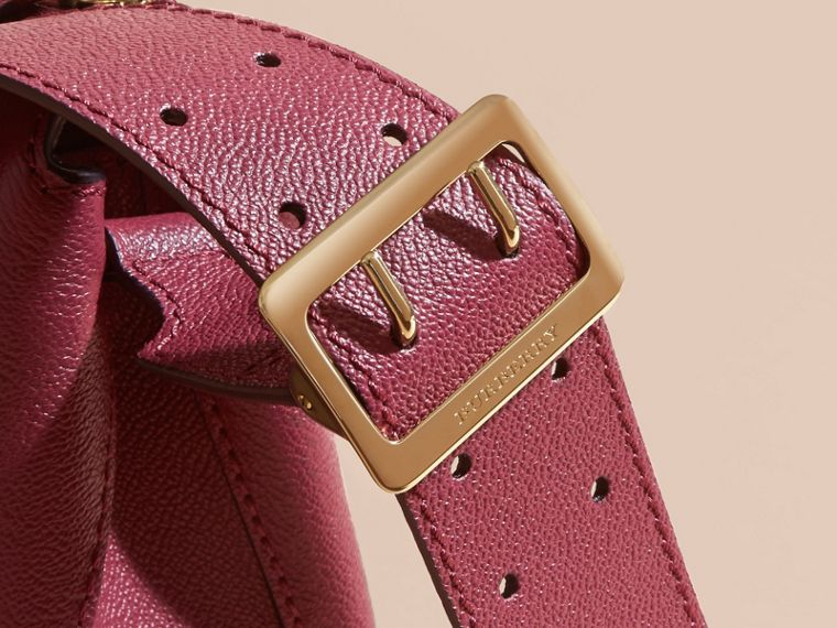 Buckle Detail Leather Crossbody Bag in Dark Plum - cell image 1