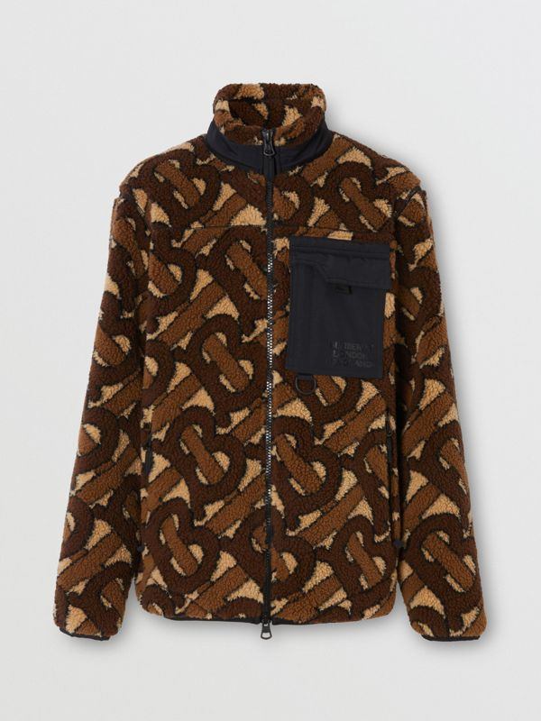 Monogram Fleece Jacquard Jacket in Bridle Brown - Men | Burberry - cell image 3