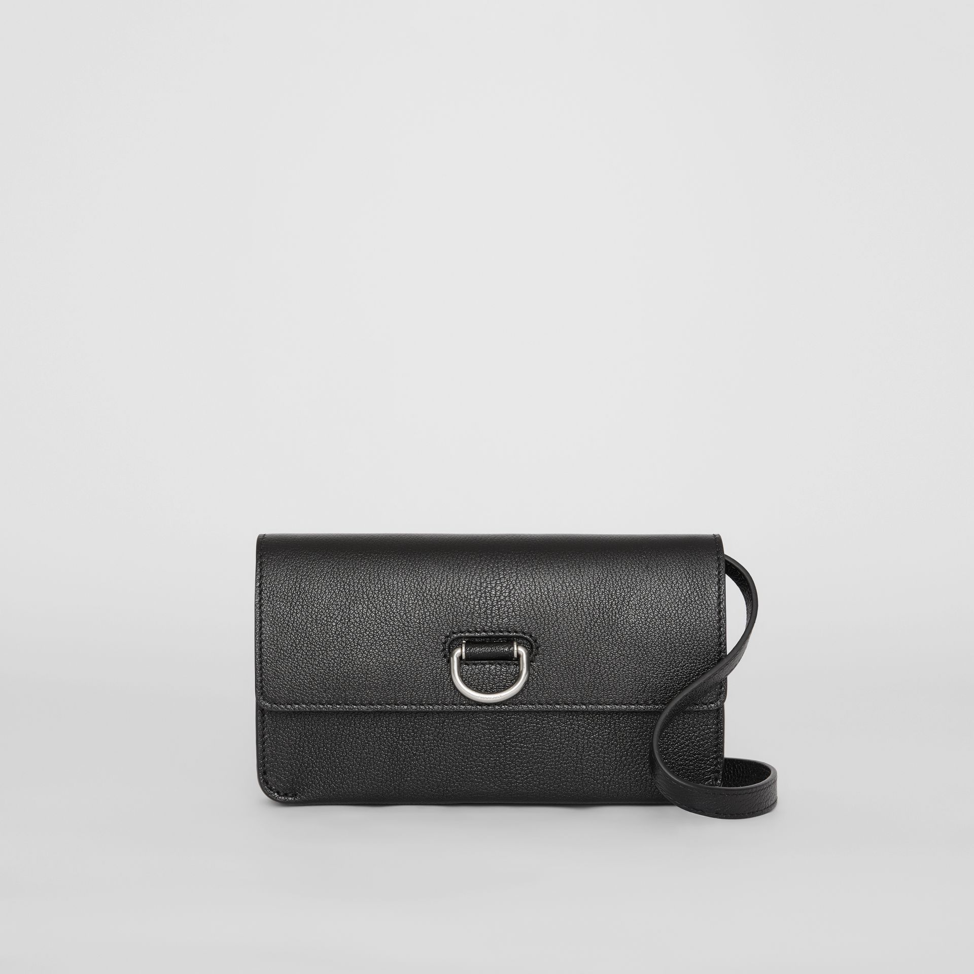 D-ring Leather Wallet with Detachable Strap in Black - Women | Burberry - gallery image 0
