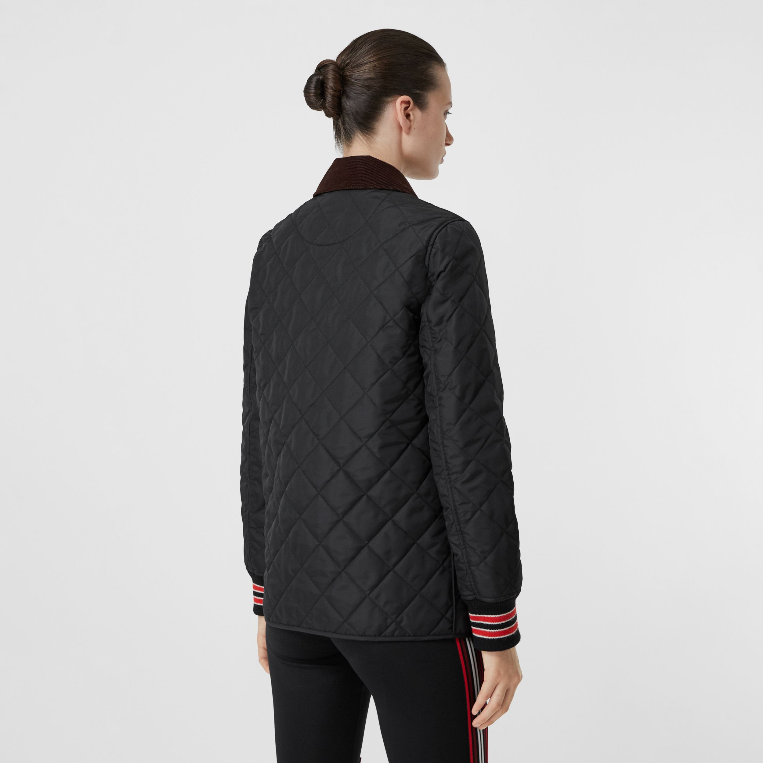 Striped Trim Diamond Quilted Barn Jacket in Black - Women | Burberry - 3