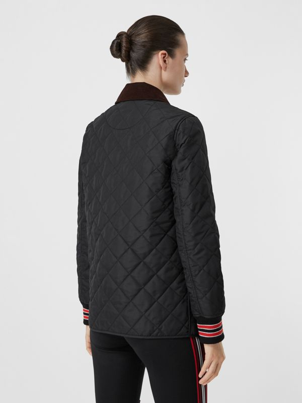 Striped Trim Diamond Quilted Barn Jacket in Black - Women | Burberry - cell image 2