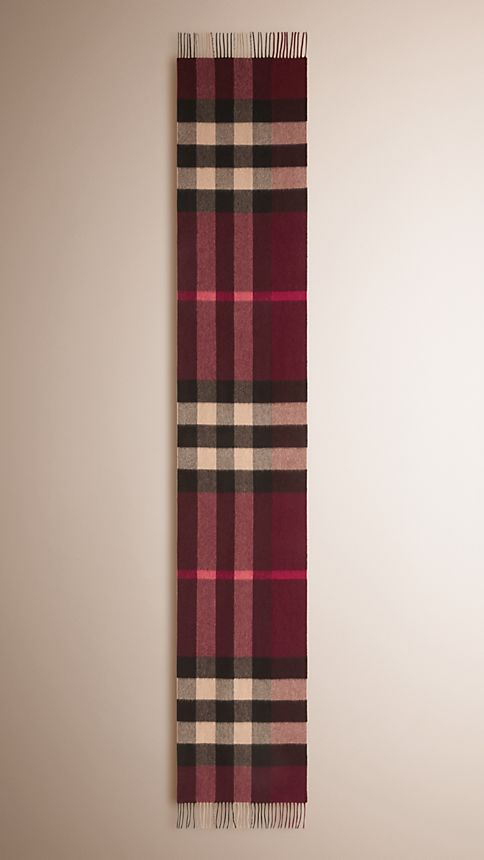 Claret check Giant Exploded Check Cashmere Scarf Claret - Image 4