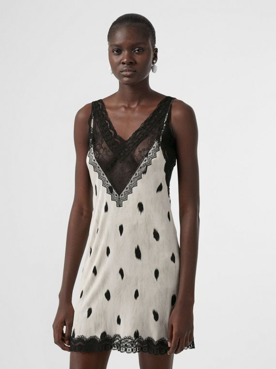 Lace Panel Animal Print Slip Dress in Black/white