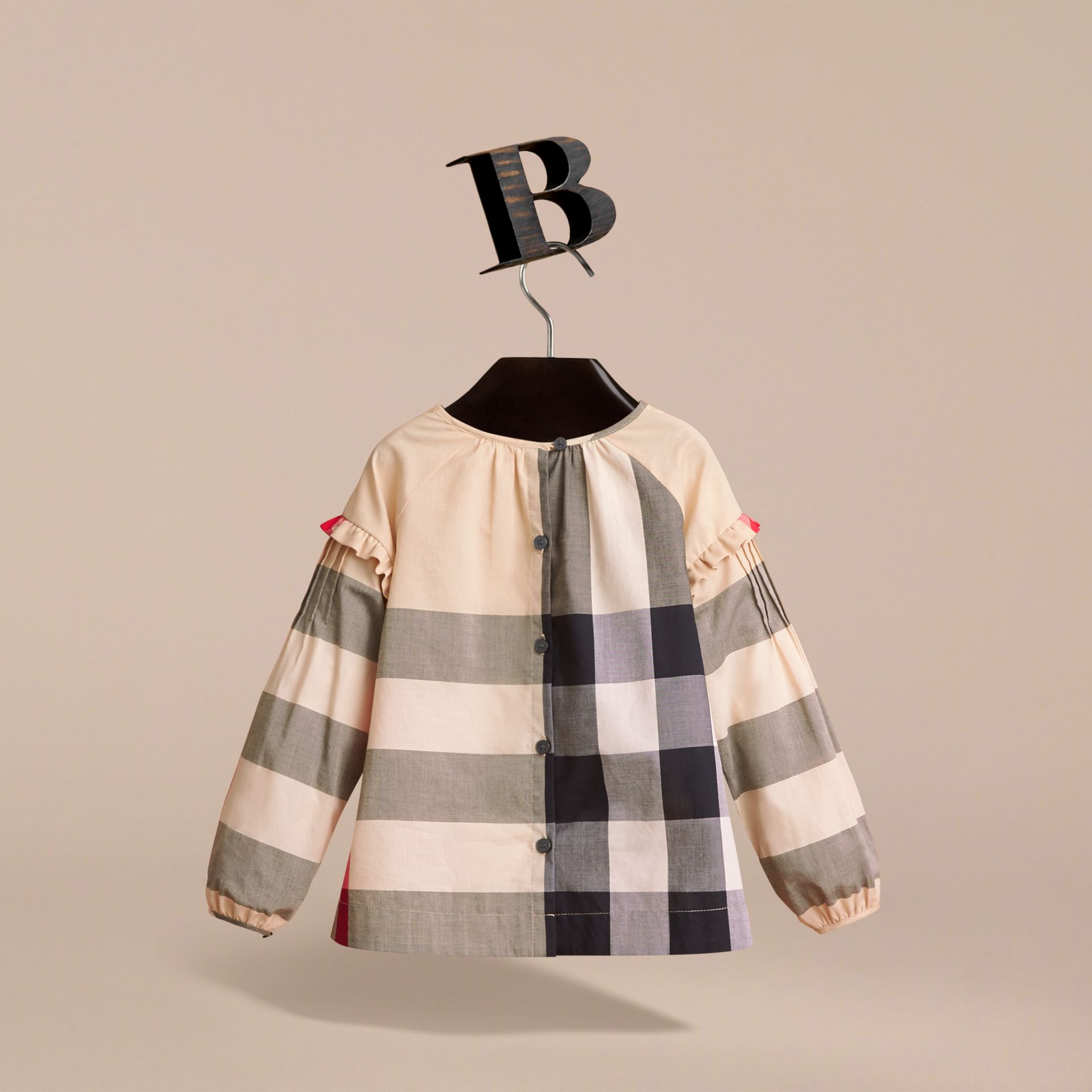 Pintuck Detail Check Cotton Top in New Classic - Girl | Burberry - gallery image 3