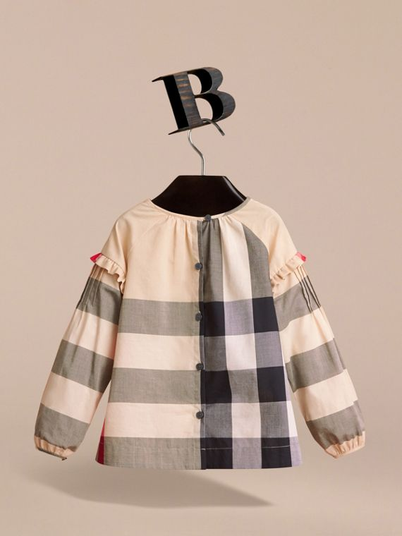 Pintuck Detail Check Cotton Top in New Classic - Girl | Burberry - cell image 3