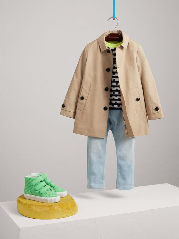 Mercerised Cotton Car Coat in Honey - Boy | Burberry - cell image 2