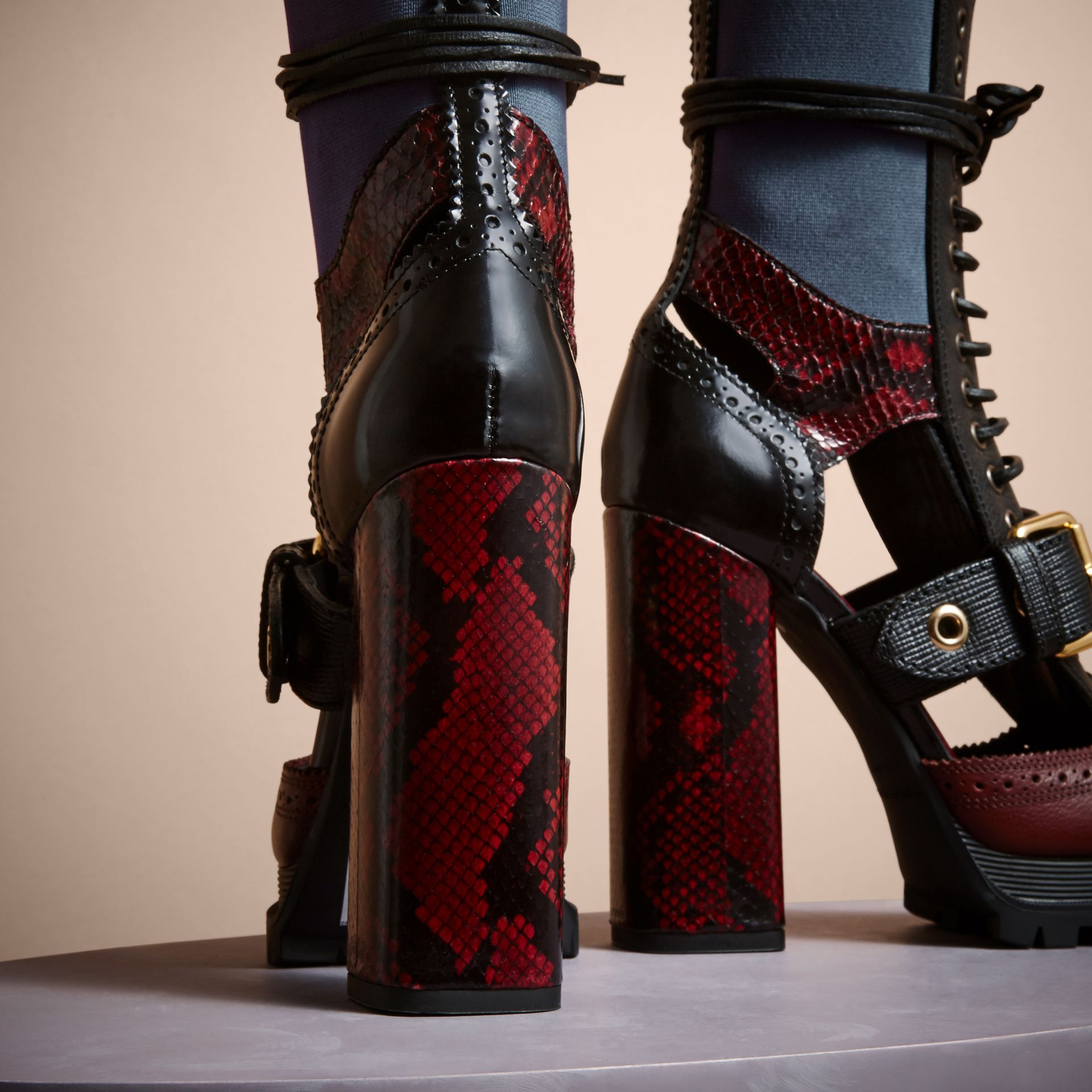 Leather and Snakeskin Cut-out Platform Boots Burgundy Red - gallery image 4
