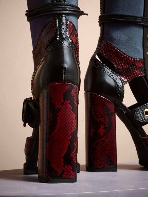 Leather and Snakeskin Cut-out Platform Boots Burgundy Red - cell image 3