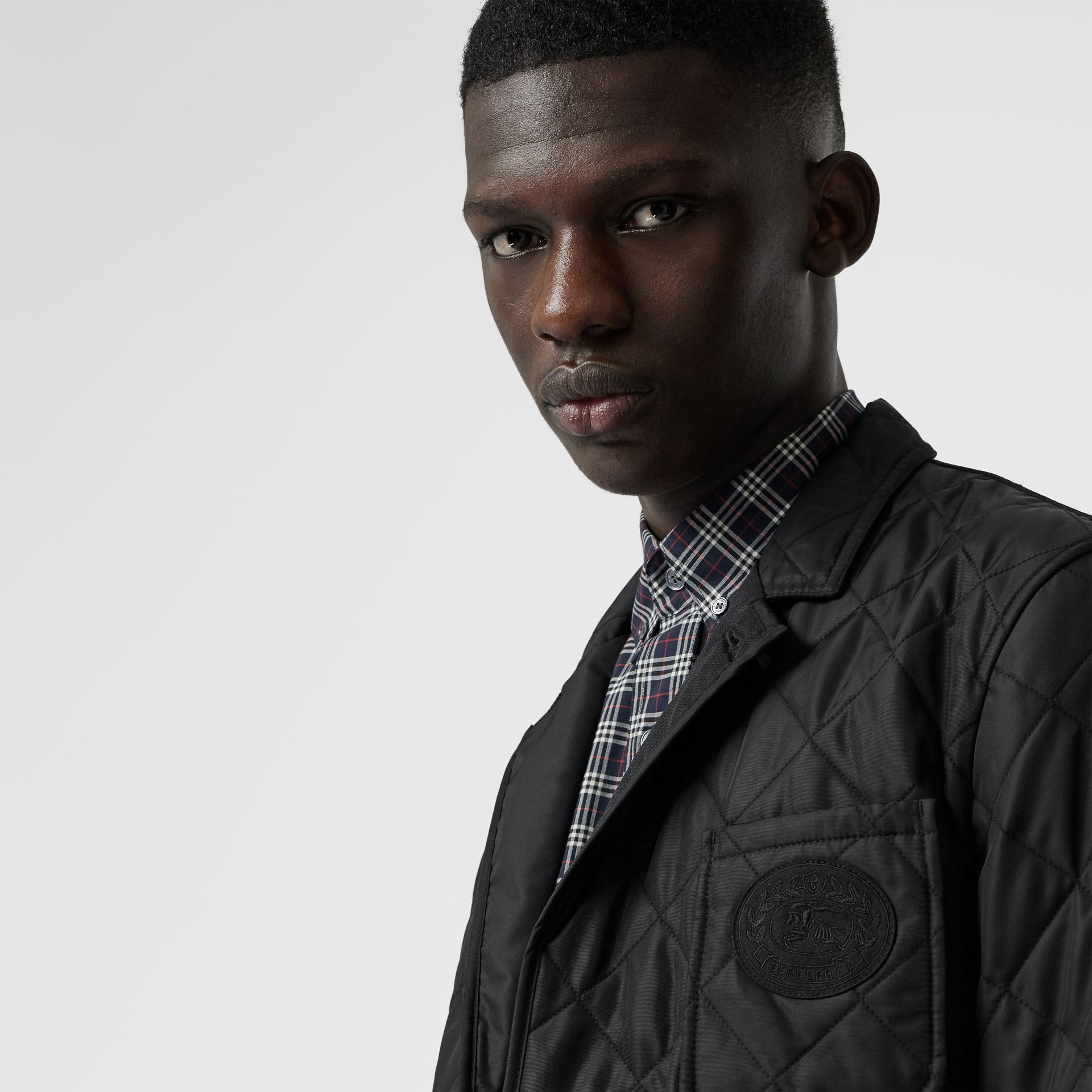 Diamond Quilted Thermoregulated Blazer in Black - Men | Burberry - gallery image 1