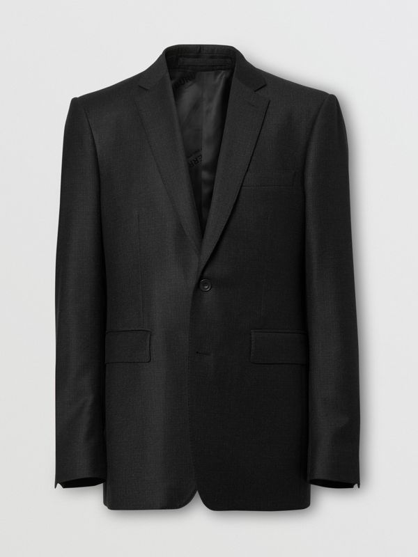 Classic Fit Wool Flannel Tailored Jacket in Black - Men | Burberry - cell image 3