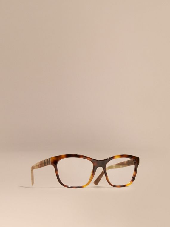 Check Detail Square Optical Frames Light Russet Brown