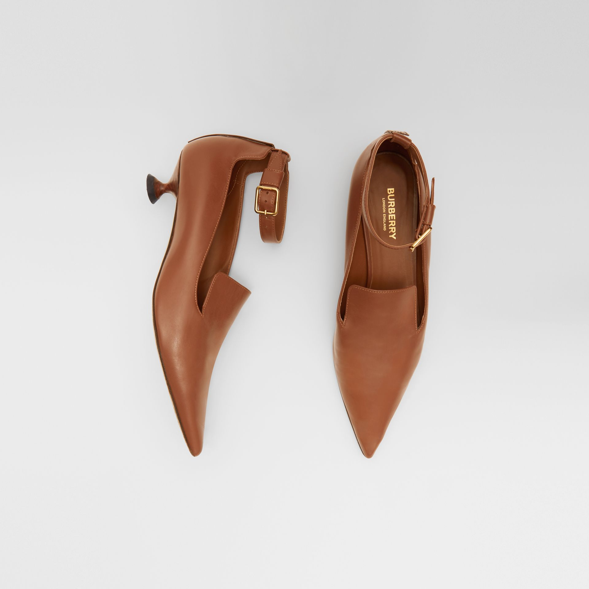 Leather Point-toe Kitten-heel Pumps in Soft Camel - Women | Burberry - gallery image 0