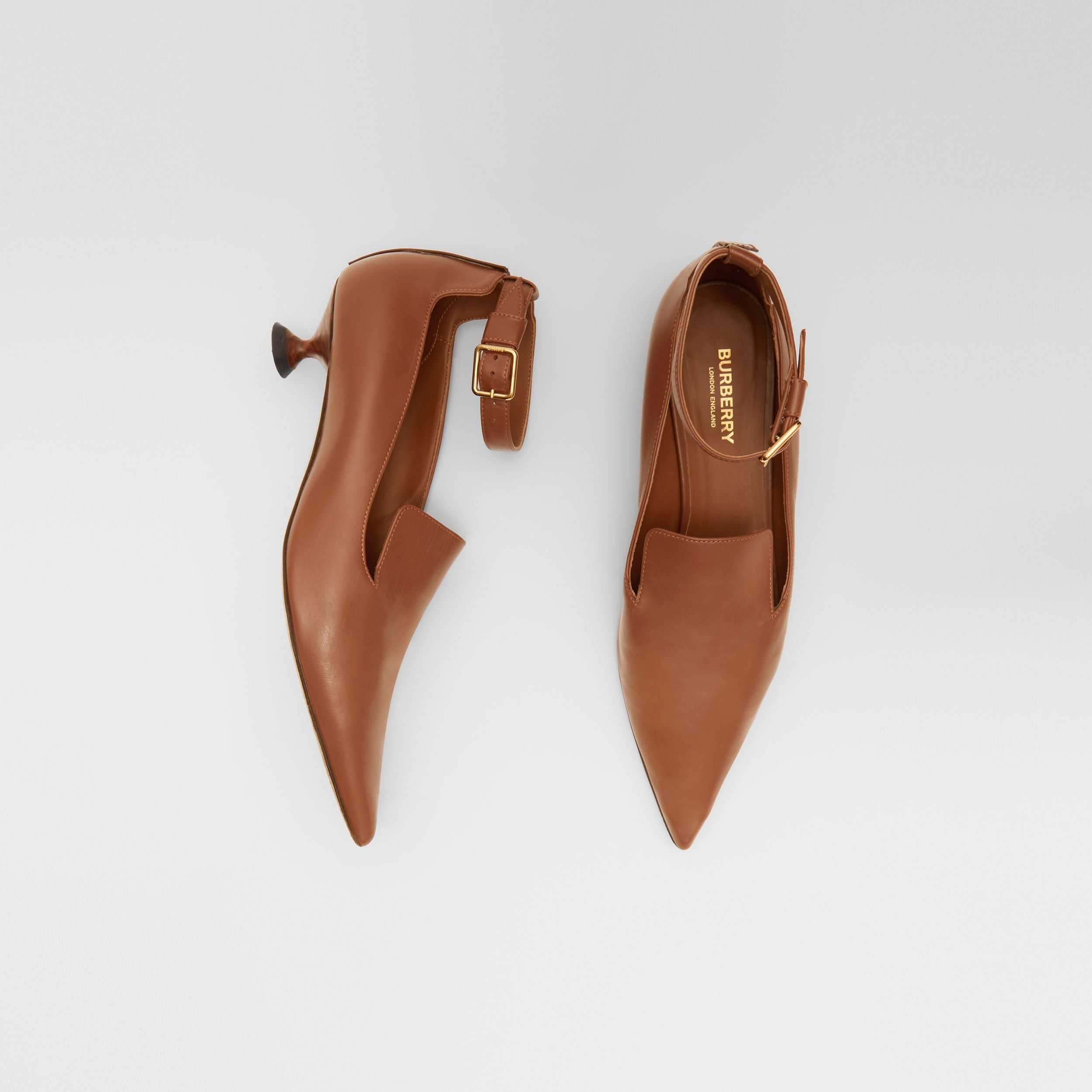 Leather Point-toe Kitten-heel Pumps in Soft Camel - Women | Burberry Hong Kong S.A.R - 1