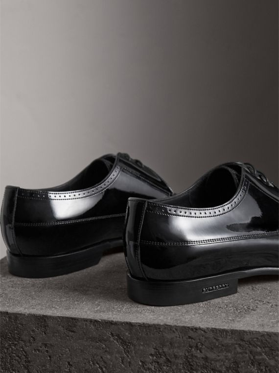 Broguing Detail Polished Leather Derby Shoes in Black - Men | Burberry Australia - cell image 3
