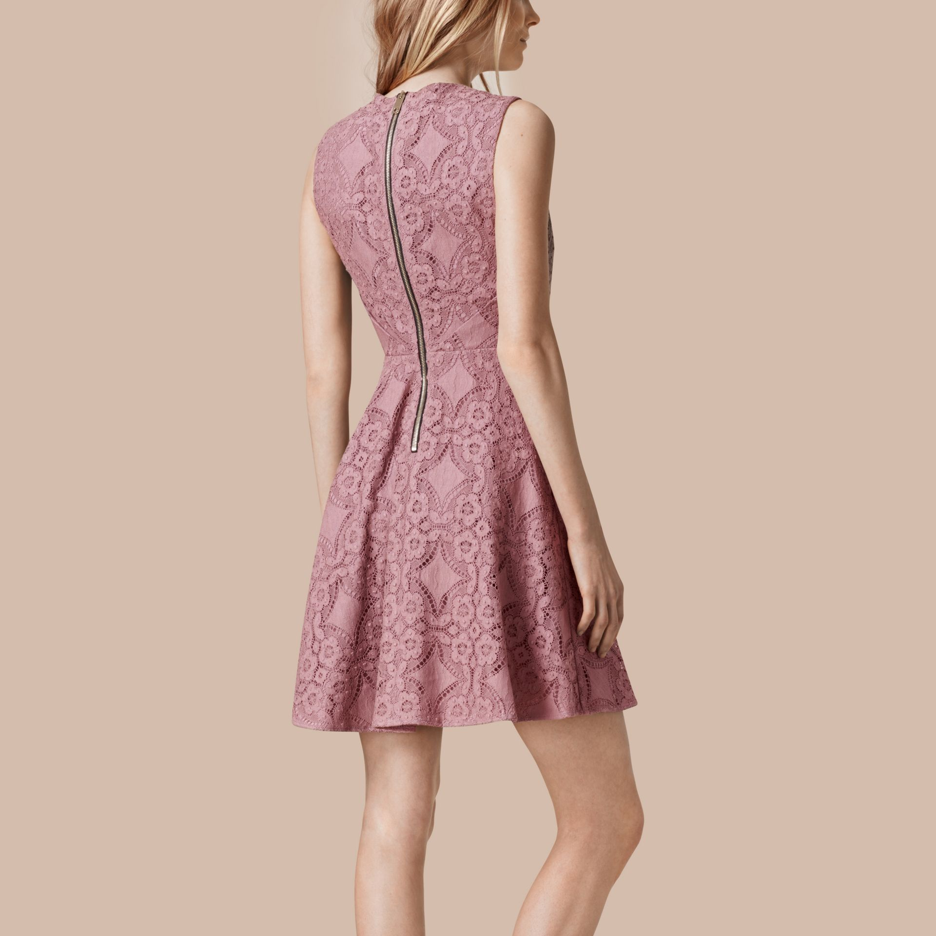 Pale mauve English Lace A-line Sleeveless Dress - gallery image 2