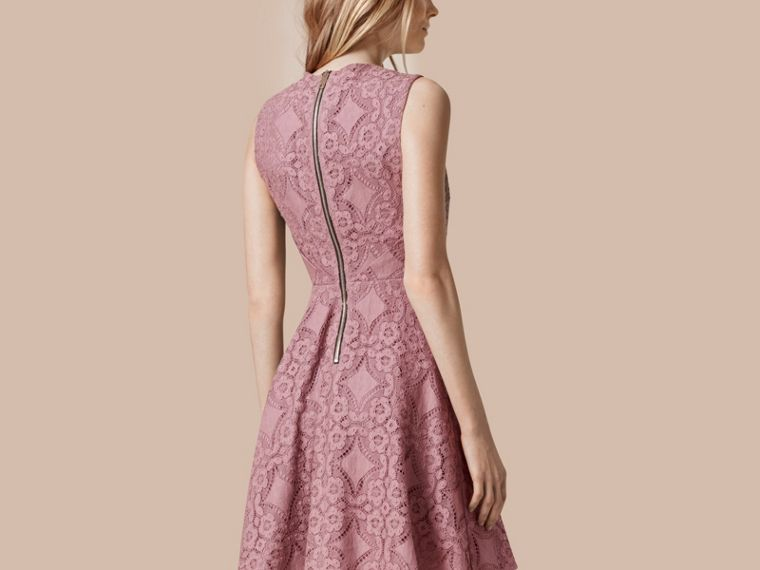 Pale mauve English Lace A-line Sleeveless Dress - cell image 1