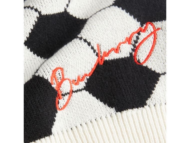 Football Intarsia Cashmere Wool Cotton Sweater in Black/white - Boy | Burberry - cell image 1