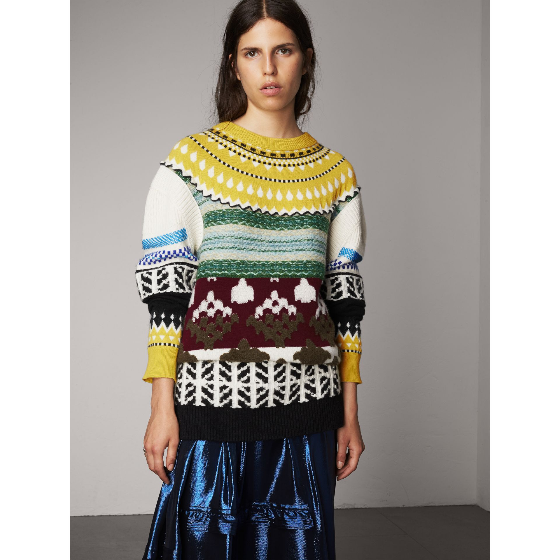 Fair Isle Cashmere Wool Sweater in Pine Green - Women | Burberry - gallery image 4