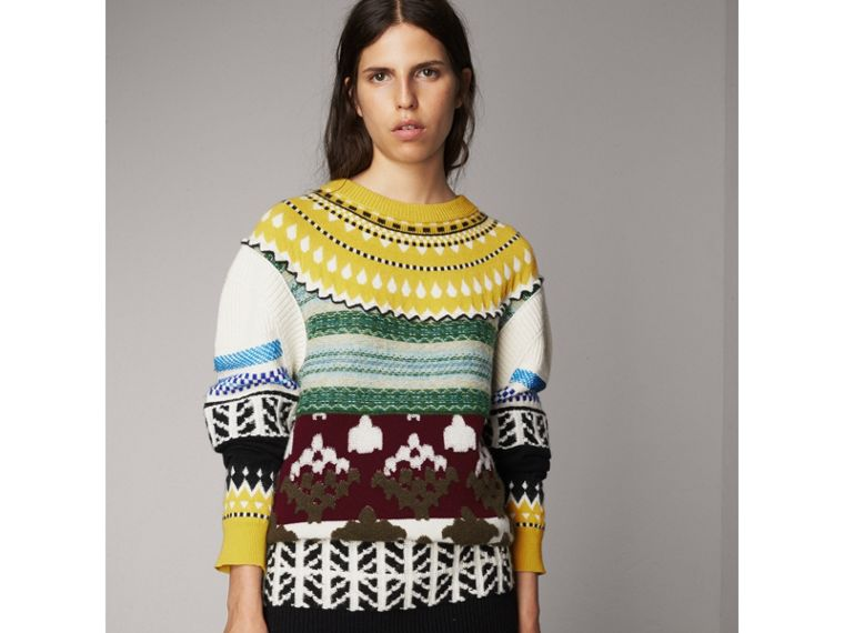Fair Isle Cashmere Wool Sweater in Pine Green - Women | Burberry - cell image 4