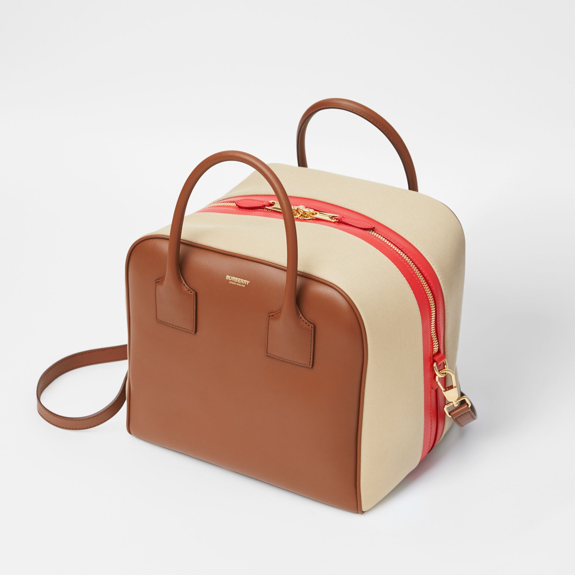 Medium Leather and Cotton Canvas Cube Bag in Malt Brown - Women | Burberry - gallery image 3