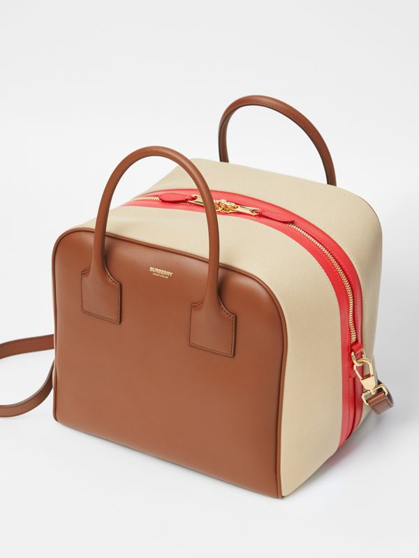 Medium Leather and Cotton Canvas Cube Bag in Malt Brown - Women | Burberry - cell image 3