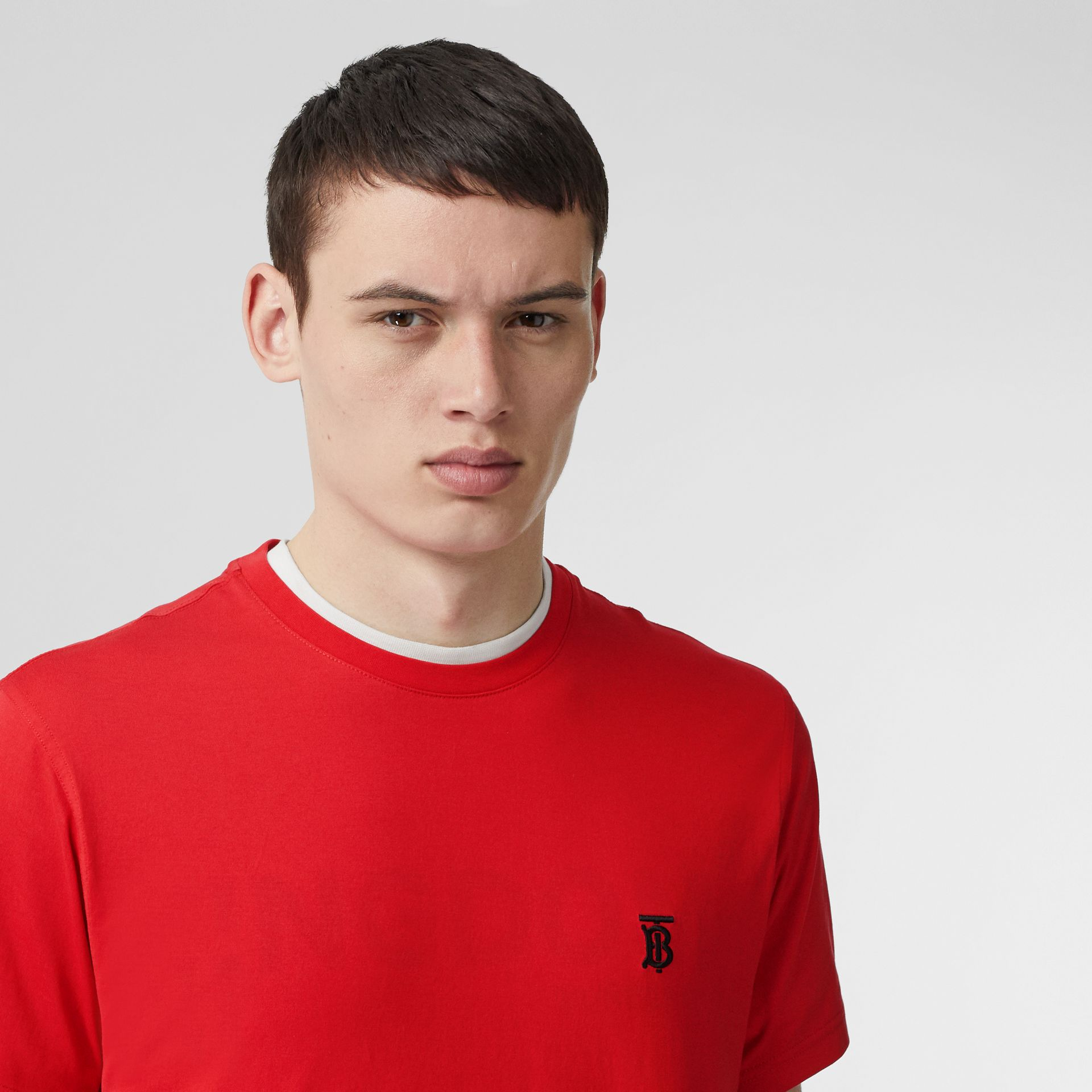 Monogram Motif Cotton T-shirt in Bright Red - Men | Burberry United Kingdom - gallery image 1