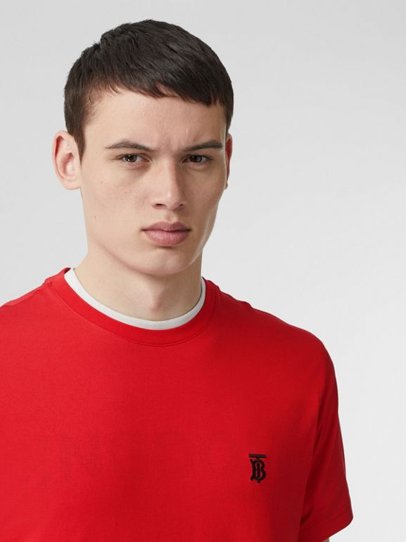 Monogram Motif Cotton T-shirt in Bright Red - Men | Burberry United Kingdom - cell image 1