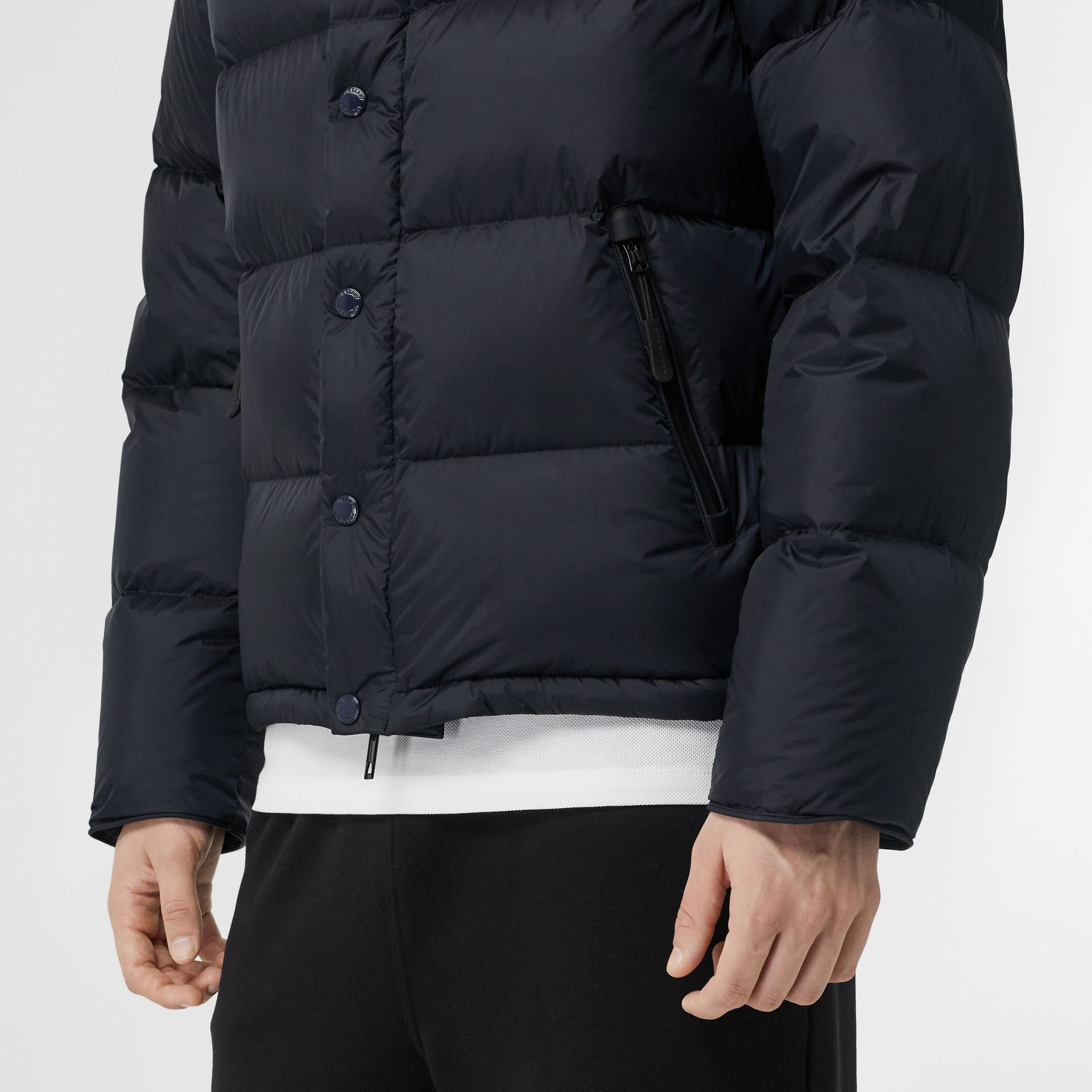 Detachable Sleeve Hooded Puffer Jacket in Navy - Men | Burberry Canada - gallery image 1