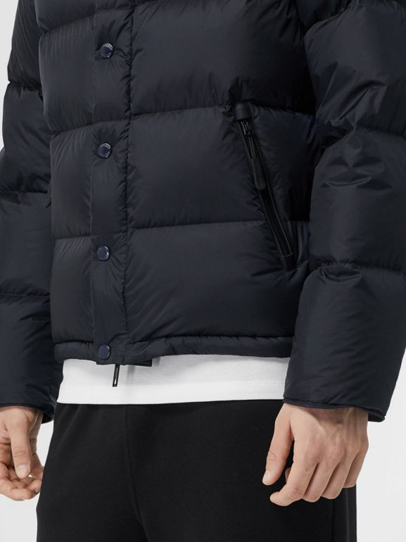 Detachable Sleeve Hooded Puffer Jacket in Navy - Men | Burberry - cell image 1