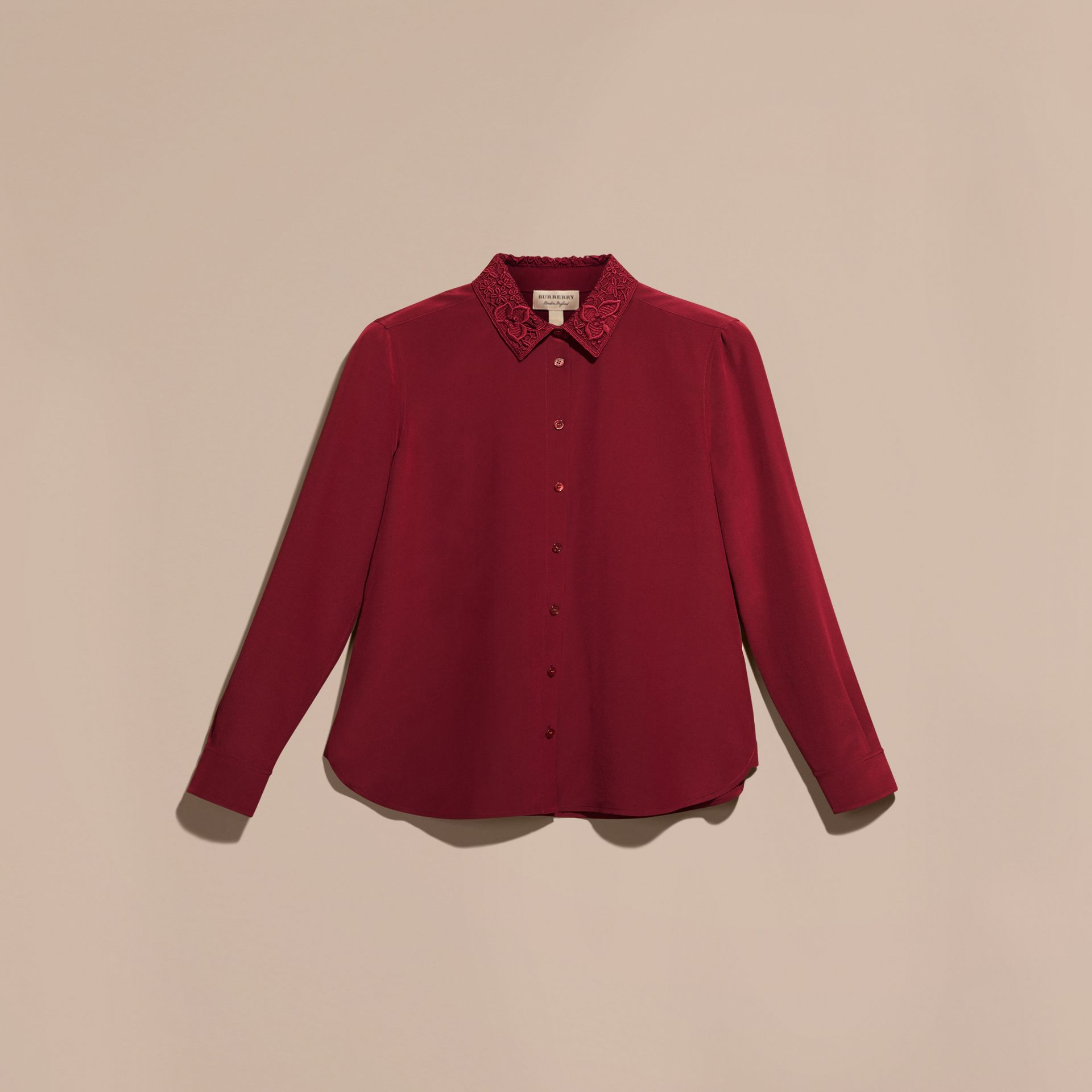 Dark crimson Lace Collar Silk Shirt Dark Crimson - gallery image 4