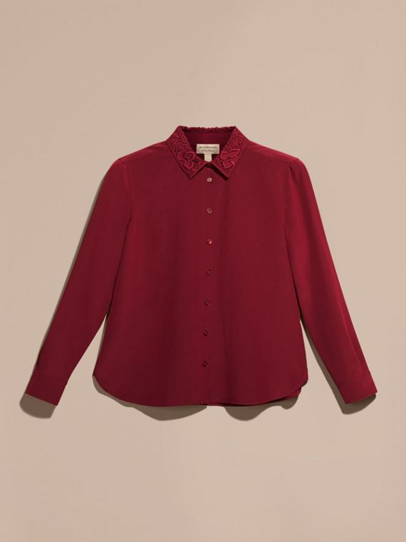 Dark crimson Lace Collar Silk Shirt Dark Crimson - cell image 3