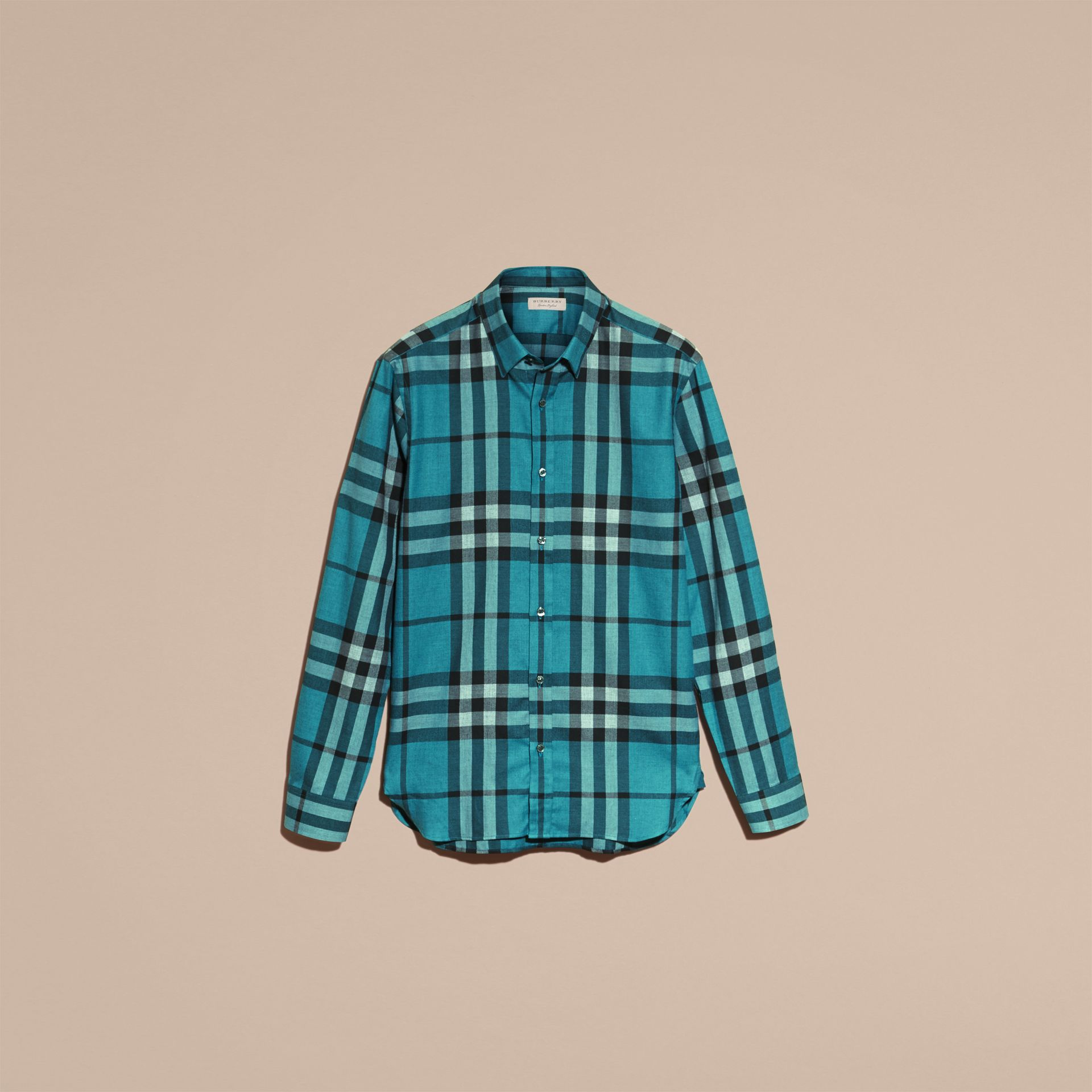 Check Cotton Cashmere Flannel Shirt in Bright Turquoise - gallery image 4